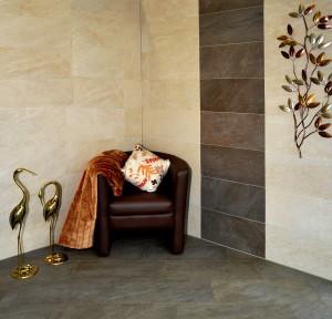 Warme Farben...Naturstein Optik für Wand und Boden.